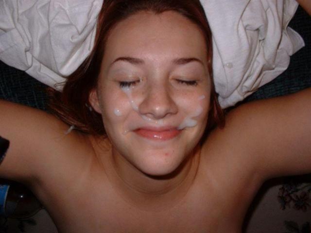 Сперма на лицах нежных девушек